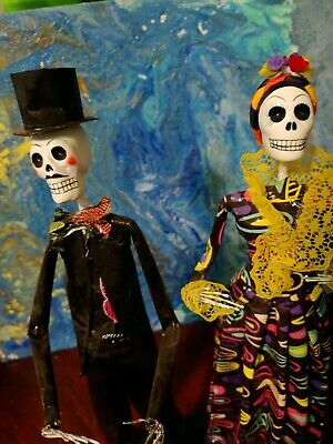 Catrina Mexican Dolls Day of Dead Paper Mache Dia de los Muertos Folk Art #132