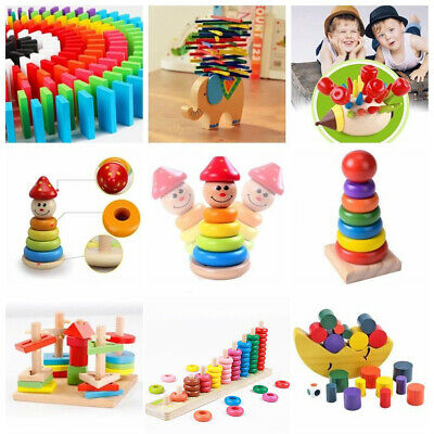 UK Baby Montessori Educational Toys Wooden Puzzle Stacking Blocks Early Learning