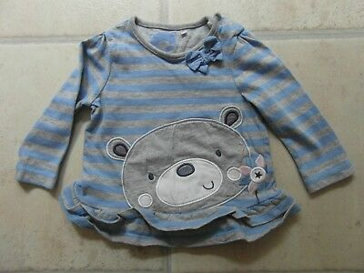 USED: LONG SLEEVE BLUE / GREY STRIPED TOP  from TU - BABY GIRL age 3 - 6 Months