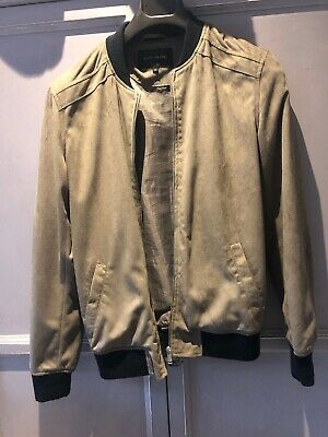 c5c413b45 RIVER ISLAND JACKET Bomber Zip Pockets Faux Suede Green Size XS ...
