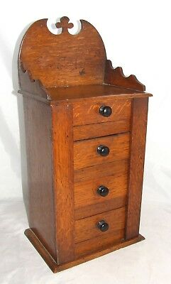 Antique Miniature Oak Wellington Style Chest Apprentice Piece Collector Cabinet