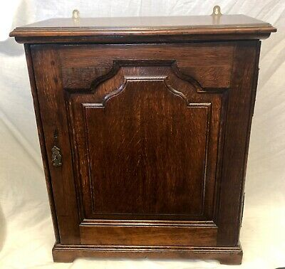 Antique GEORGIAN Oak Table Top or Wall Mounted Spice Cabinet Cupboard