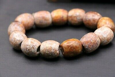 Liangzhu Culture Chinese Old Jade totem Big Fortune Bead Bracelet Amulet Carving