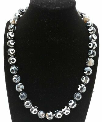 Natural 10mm Black Faceted Old Agate Onyx Gmes Round Beads Necklace 18''