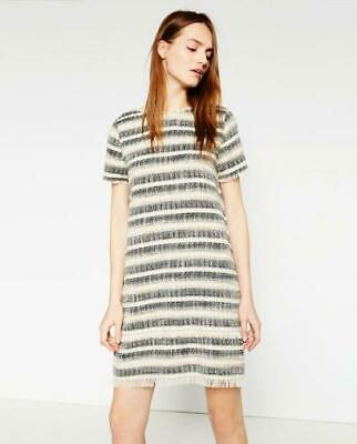 fb352015 ZARA BLACK & CREAM STRIPED FRAYED TWEED DRESS SIZE XS Boucle EUC SOLD OUT  Raw