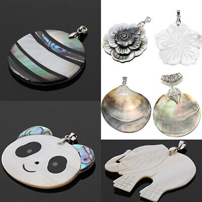 Natural Abalone Shell Bead Animal Flower Rounds Pendant Charms For DIY Necklace