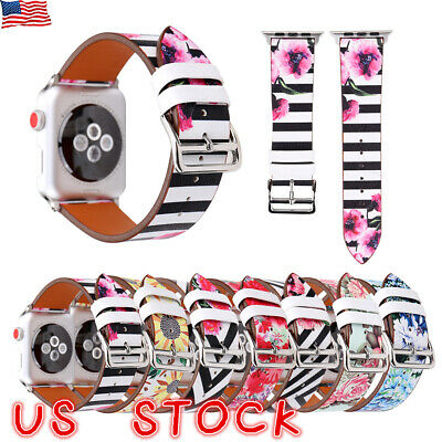 Floral Flower Leather Strap Wrist Band For Apple Watch Series 3/2/1 38mm/42mm