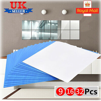 9/16/32pcs Mirror Tile Wall Sticker Square Self Adhesive Stick On Bathroom 0.1mm