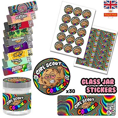 30x Amnesia Haze Glass Jar Cali Labels Stickers RX medical Pot Stardawg Lemon UK