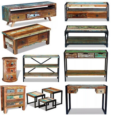 Reclaimed Wood TV Cabinet Coffee Table Sideboard Nesting Tables Home Furniture