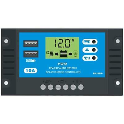 10A 12V 24V LCD Display PWM Solar Charge Controller Dual USB Panel Charger Best
