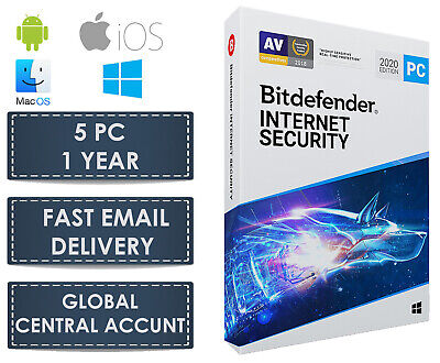 """Bitdefender Internet Security 2019-1 Jahr 5 PC + VPN (Zentralkonto - eDelivery)"