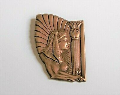 Vintage Goldplated Copper Repousse FEMALE SPHINX Brooch EGYPTIAN Revival Style