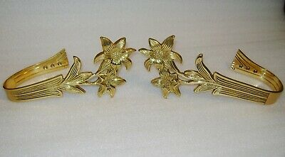 Vintage 80's Brass Curtain Tie Back Drapery Holder Large Size Lilly Flower Motif