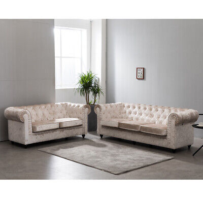 Chesterfield Sofa 3+2 Seater Suite Set, Armchair Crushed Velvet Chair Cream Seat