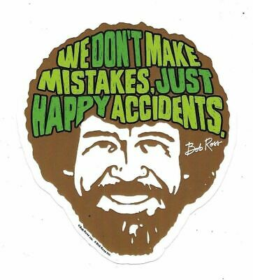 Bob Ross TV Series We Don't Make Mistakes Peel Off Sticker Decal NEW UNUSED