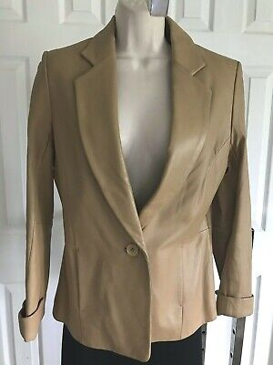 Jaclyn Smith Classics genuine leather jacket light camel brown fitted S