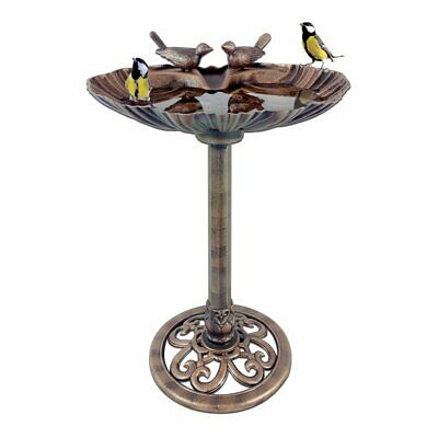 UAREHOME Clam Shell Bird Bath with Built-in Base Stones, Bronze Effect
