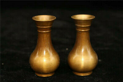 "2.56"" Collection Old Chinese pure copper Handmade Vase A pair"