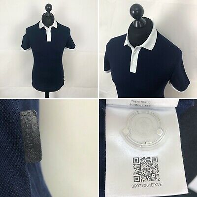 c62f427f8 MONCLER Polo Shirt Size Small S/s Fitted Men's Top In Blue 100% Authentic