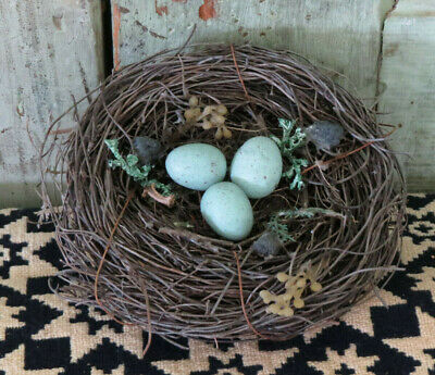 """Grubby Primitive Realistic looking Birds Nest Speckled Robin's Eggs 6"""" Bowl fill"""