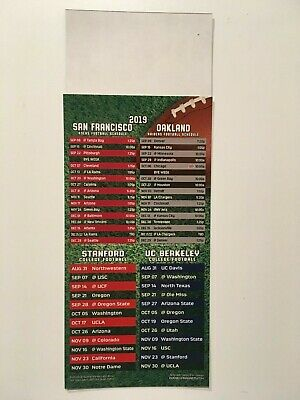 Nfl 2019 San Francisco 49Ers & Oakland Raiders Magnet Schedule + Stanford - New