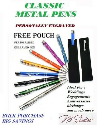 Personalised Custom Engraved Promotional Metal Pens Wedding Business Bulk Gifts