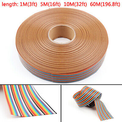 10 12 14 16 20 26 30 34 40Pin Couleur Rainbow Ribbon câble Wire Plat 1.27mm AF