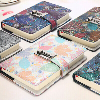PU Leather Vintage Journal Notebook Lined Paper Diary Planner with Lock Notepad