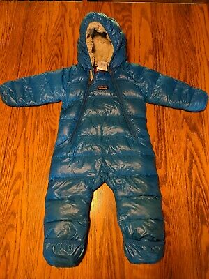 326261882 PATAGONIA INFANT HI Loft Down Sweater Bunting Rompers 6 Months blue ...