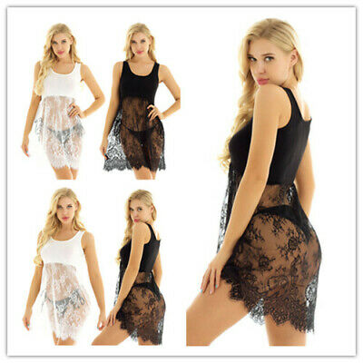 63ed5124154b Summer Womens See Through Vest Dress Top U-Neck Camisole Casual Extender  Skirts