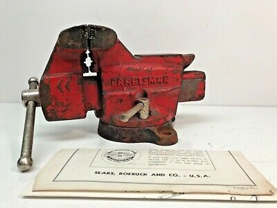 """Vintage Sears Craftsman Bench Vise USA 3 1/2"""" Jaws Red 391.5180 50's 60's Manual"""