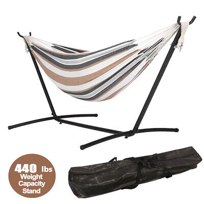 Hammock Bed with Steel Stand Kit Swinging Camping Hanging Garden Outdoor