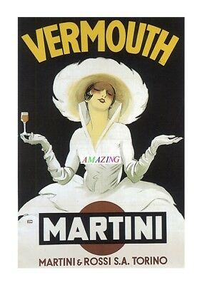 Vintage Style French Art Nouveau Advertising Poster: Martini Vermouth