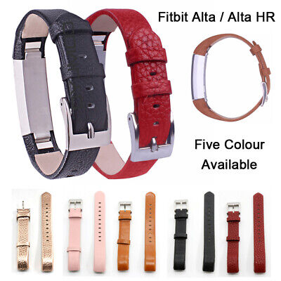 Mens Women Genuine Leather Watch Strap Band For Fitbit Alta /Alta HR / Charge 2