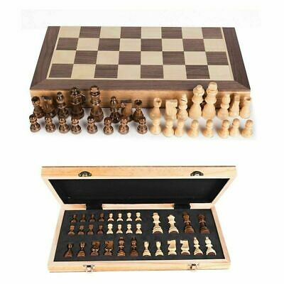 Chess Wooden Set Folding Chessboard Magnetic Pieces Wood Board UK New