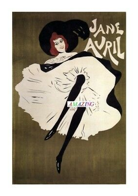 Vintage Style French Art Nouveau Poster: Jane Avril Dancing The Can-Can