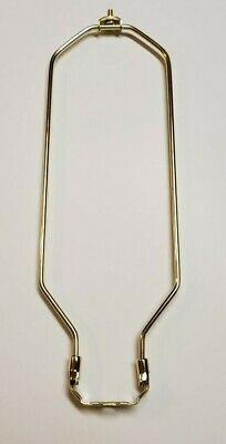 """14"""" Tall Brass Plated Heavy Duty Lamp Harp With Bottom New 54032J"""