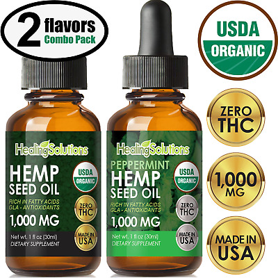 Peppermint Hemp Oil Drops for Pain Relief, Stress, Anxiety, Sleep, Keto 1000mg