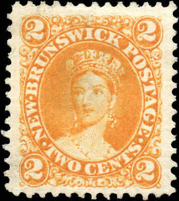 Mint Canada New Brunswick 1860 2c Scott #7 Queen Victoria Stamp Hinged No Gum
