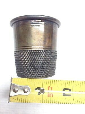 Vintage FISHER Giant THIMBLE SHOTGLASS NOT ENGRAVED SILVER PLATE ANTIQUE