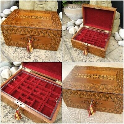 Fab Interior Wonderful 19c Large Victorian Inlaid Antique Jewellery Box Jewelry & Watches Decorative Arts