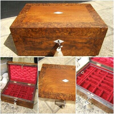 Superb 19C Figured Walnut- Burl Ash Antique Inlaid Jewellery Box - Fab Interior