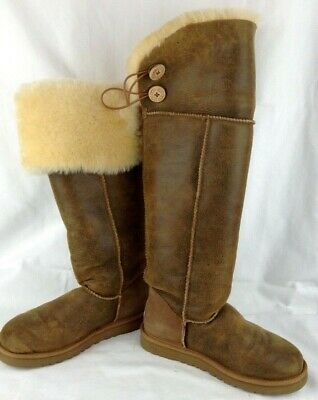 17137227987 UGG OVER THE Knee Bailey Button Bomber Jacket Dark Brown Boots Sz 7 ...