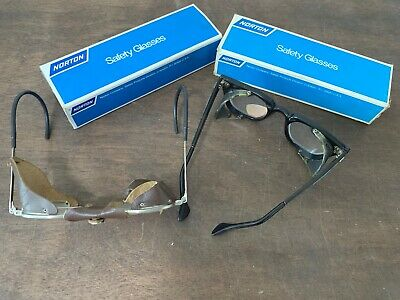 2 Pair Vintage Norton Safety Glasses Steampunk Aviator Motorcycle, NOS