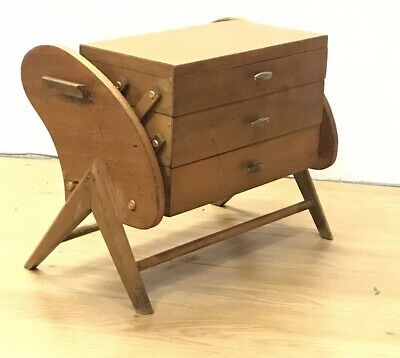 Mid Century Scandinavian Teak Sewing Box / Storage Table with Cantilever Action