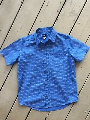 The Childrens Place Boys Short Sleeve Button Up Dress Shirt Size 10-12 L