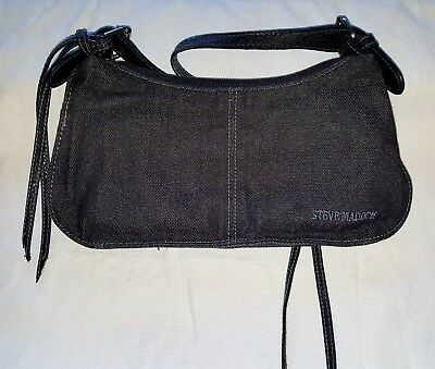 a8a8391cbd4 STEVE MADDEN SMALL Black Denim Purse with Faux Leather Trim/Handle ...