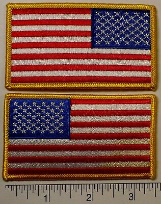 """Uniform Set of American Flag Embroidered Patch & Reverse 3.5x2"""" - Patriotic USA"""