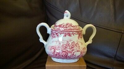 Sugar Bowl Myotts Country Life Vintage with Lid Burgundy & White Colors